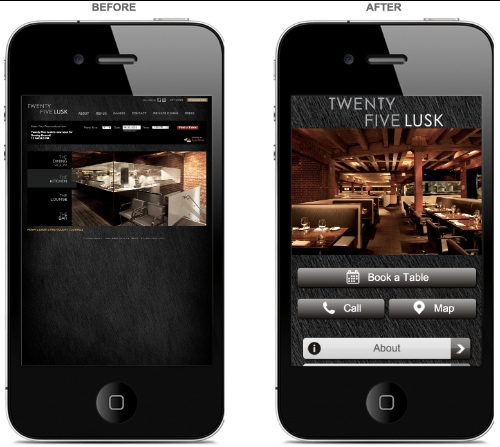 Mobile optimised website - before and after  (image courtesy of DudaMobile.com)